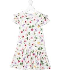 monnalisa floral-print drop-waist dress - white