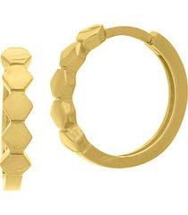 14k yellow gold honeycomb mini huggie hoop earrings