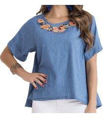 blusa sandra azul  para mujer croydon