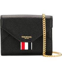 thom browne pebbled logo-stamp mini bag - black
