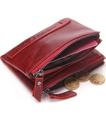 cartera piel genuina mujeres contact's zipper billetera