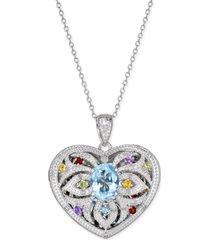 blue topaz & gemstone (2 ct. t.w.) & diamond (1/10 ct. t.w.) heart locket pendant necklace in sterling silver