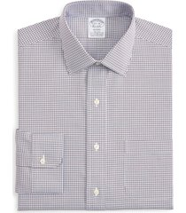 brooks brothers regent regular fit stretch plaid dress shirt, size 17.5 - 35 in very blue at nordstrom