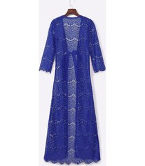 lace long sleeves eyelash hem overall in blue