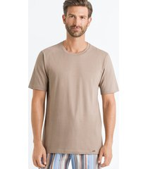 hanro heren sleep & lounge living leisure s/slv t- shirt bruin 075050