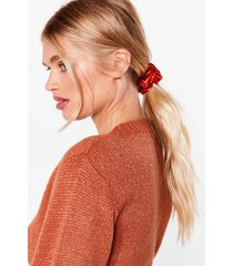 womens no word of a tie satin scrunchie - red