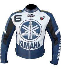 men mens yamaha 6 blue cowhide leather motorcycle motorbike biker jacket