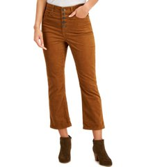 style & co corduroy flared button pants, created for macy's