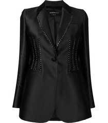 emporio armani single breasted studded blazer - black