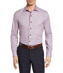 men's david donahue trim fit check dress shirt, size 15.5 - 34/35 - burgundy