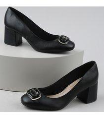 sapato feminino beira rio com fivela salto básico grosso preto