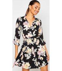 bloemenprint blouse jurk, zwart