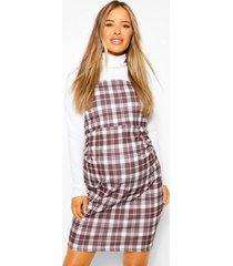 zwangerschaps 2-in-1 geruite pinafore jurk met col, white