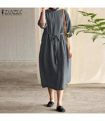 zanzea mujeres más llano básico kaftan volver cinturón de lazo vestido a media pierna de algodón -gris oscuro