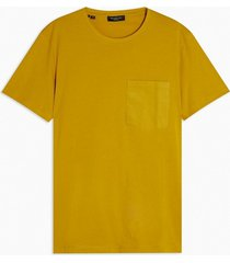 mens selected homme yellow organic cotton t-shirt