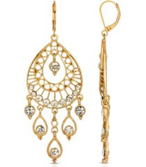 2028 gold-tone crystal filigree teardrop earrings