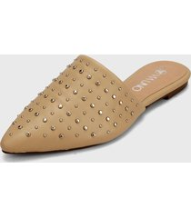 slipper beige-plateado via uno