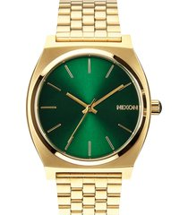 nixon the time teller watch, 37mm in gold/green at nordstrom