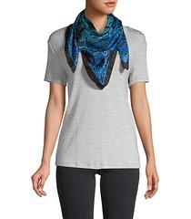 botanical & animal-print silk scarf