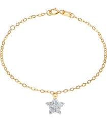 bracciale in oro giallo con ciondolo stella e strass bianchi per bambini
