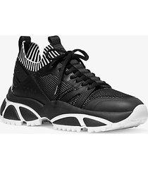 mk sneaker lucas in pelle gommata e maglia - nero/bianco (nero) - michael kors