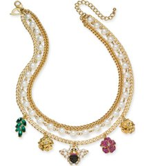 """thalia sodi gold-tone crystal & imitation pearl bee multi-charm layered necklace, 16"""" + 3"""" extender, created for macy's"""
