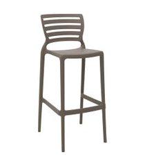cadeira alta bar tramontina 92137210 sofia c/ encosto vazado camurça