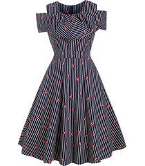 striped lip print retro a line flounce dress