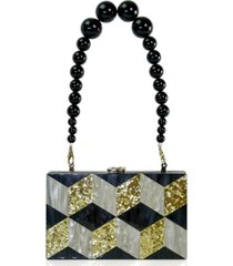 milanblocks beaded top handle grid acrylic box clutch