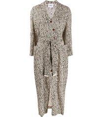 nanushka capri belted wrap dress - neutrals
