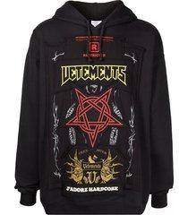 hardcore patch logo hoodie black