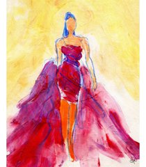 """creative gallery flowing red dress abstract 20"""" x 16"""" canvas wall art print"""