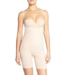 women's spanx thinstincts open bust mid thigh bodysuit