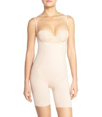 women's spanx thinstincts open bust mid thigh bodysuit, size small - beige