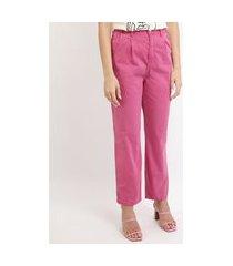 calça de sarja feminina mindset carrot cintura alta pink
