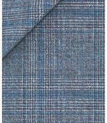 giacca da uomo su misura, loro piana, principe di galles lana seta lino blu chiaro, primavera estate | lanieri
