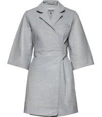 lamb leather korte jurk grijs ganni