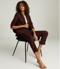 reiss freya - wool blend slim fit blazer in berry, womens, size 12