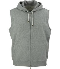 brunello cucinelli techno cotton interlock zip-front hooded sweatshirt vest