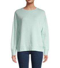 vince women's drop shoulder cotton sweatshirt - sea foam - size xs