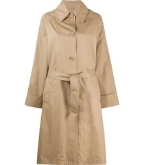 mm6 maison margiela single-breasted belted trench coat - neutrals
