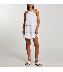 river island womens white tiered halter mini swing dress