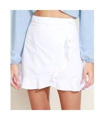 saia de sarja feminina curta com babados e transpasse branca