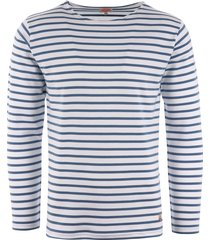 armor lux long sleeve breton striped mariniere t-shirt - white & moody blue 02297