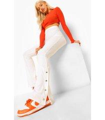 geribbelde wijd uitlopende broek met drukknoopjes en split, off white