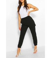 getailleerde broek met utility zakken, zwart