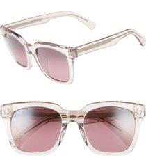 women's maui jim heliconia 53mm polarizedplus2 square sunglasses - crystal pink/ maui rose
