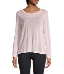 helmut lang women's dynamic long-sleeve t-shirt - light pink - size s