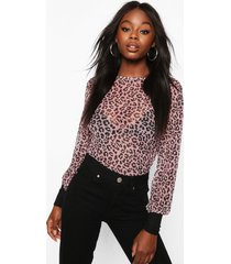 leopard mesh top with contrast cuffs, pink