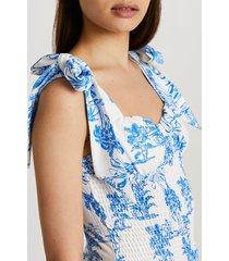 river island womens blue shirred tie strap cami top